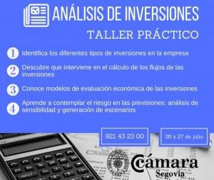 Taller de análisis de inversiones @ Cámara de Segovia | Segovia | Castilla y León | España