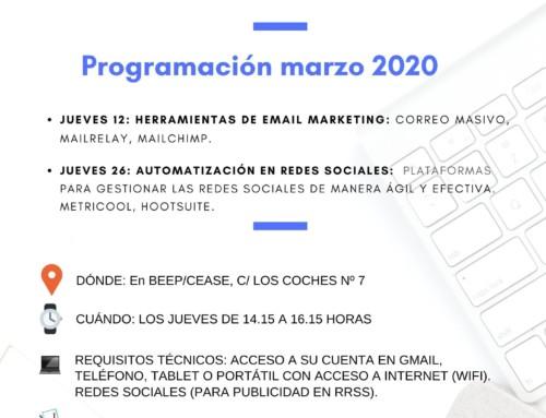 MARZO: Talleres gratuitos sobre herramientas digitales para pymes y autónomos