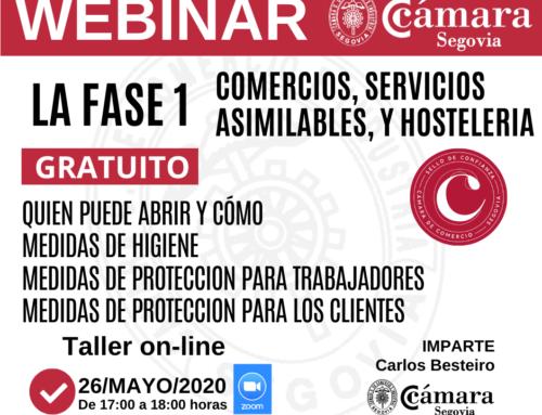 TALLER ON LINE: FASE 1 COMERCIO, SERVICIOS ASIMILADOS Y HOSTELERIA