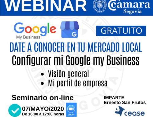 Seminario on line: Date a conocer en tu mercado local (Google my business)