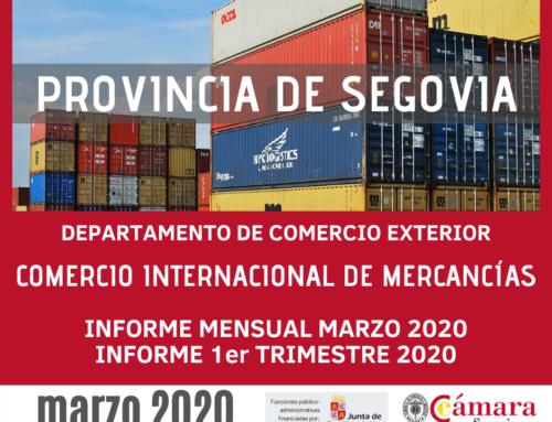 La Cámara de Segovia destaca el incremento de las exportaciones de la provincia en el mes de marzo 2020