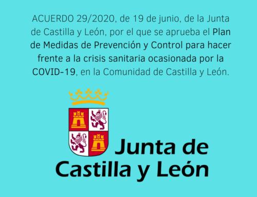 Medidas de Prevención y Control frente a la COVID-19 en Castilla y León.