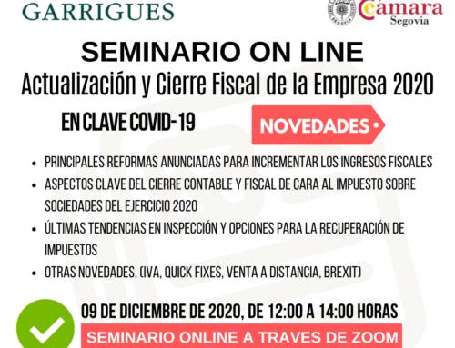 SEMINARIO ONLINE Actualización y Cierre Fiscal para la Empresa GARRIGUES