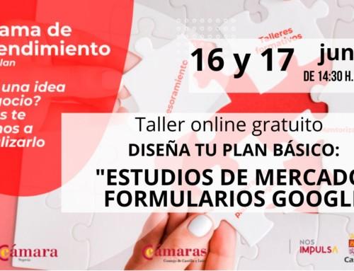 Emprendimiento. Taller online gratuito. Estudios de mercado, formularios google.